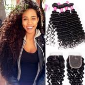 Mario Hair Peruvian Curly Hair Weave 4 Bundles With Lace Closure Natural Color Peruvian Deep Curly Virgin Hair Full End