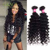 Grace Hair Company Peruvian Curly Weave Hair 3pcs Lot 100% 6A Peruvian Human Hair Extension Peruvian Deep Wave Hair Bundles