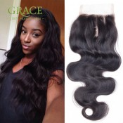 Peerless Peruvian Lace Closure Body Wave Virgin Human Hair Free/Middle/3Part Cheap Malaysia Body Wave Closure Bleached Knots