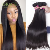 Peruvian Virgin Hair Straight 4 Bundles Deal 8A Grade Unprocessed Human Hair Weave Grace Hair Products Peruvian Virgin Hair