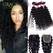 Peruvian Deep Wave Virgin Hair With Closure Unice Hair Peruvian Deep Curly With Closure 3 Bundles Peruvian Curly With Closure