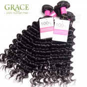 Brazilian Deep Wave One Bundle Grace Hair 100g/pc Brazilian Deep Curly Virgin Hair Brazilian Curly Weave Human Hair Extension