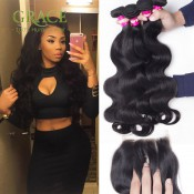 8A Unprocessed Peruvian Virgin Hair With Closures 3Bundles With Closure Queen Hair Peruvian Virgin Hair Body Wave With Closure