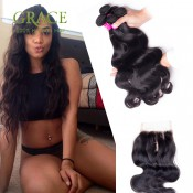 Queen Hair Brazilian Body Wave 6A Unprocessed Brazilian Virgin Hair 4 Bundles Brazilian Hair Weave Bundles With Closure