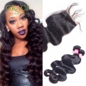 Brazilian Body Wave With Closure 4PCS Lot Queens Hair Products Lace Closure With Bundles 7A Brazilian Virgin Hair With Closure