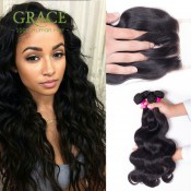 Rosa Hair 3 Bundles with Closure Queen Peruvian Virgin Hair With Closure Body Wave Unprocessed Human Hair with Closure