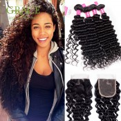 Brazilian Deep Wave with Closure 5Pcs/lot Brazillian Deep Curly Hair With Closure Brazilian Curly Virgin Hair With Closure