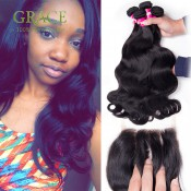 Queen Hair Products With Closure Bundle 5 Pcs/lot Brazilian Body Wave With Closure 7A Brazilian Hair Weave Bundles With Closure