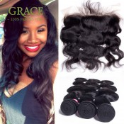 4*13 Ear to Ear with Baby Hair Lace Frontal Closure with Bundles Body Wave Brazilian Virgin Hair with Frontal Closure Bundles