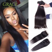 7A Unprocessed Malaysian Virgin Hair With Closure Malaysian Straight Hair Bundles With Lace Closures 4 Bundles With Closure