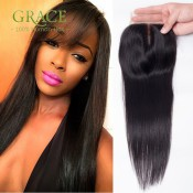 7A Peruvian Swiss Lace Closure Straight 4*4 Bleached Knots Peruvian Lace Closure Straight Free/Middle/3Part Human Hair Closure