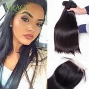 Ali Queen Hair 7A Malaysian Virgin Hair With Closure 4 Pcs/Lot Malaysian Straight Hair 8a Grade Virgin Unprocessed Human Hair