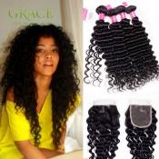 Malaysian Deep Wave Virgin Hair 4Bundles With Closure Queen Hair Bundles With Lace Closure 8A Malaysian Deep Curly Virgin Hair