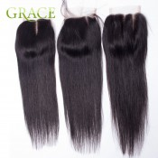 Virgin Peruvian Straight Lace Closure Bleached Knots Free/Middle/3Part Cheap Sexy Formula Hair 7a Peruvian Straight Closure