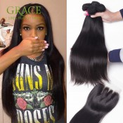 7A Grade Malaysian Straight Hair With Closure 4 Pcs/Lot Bele Virgin Hair With Closure 100% Unprocessed Human Hair With Closure