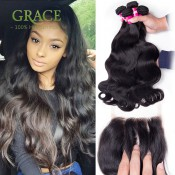 Queen Weave Beauty Ltd Body Wave 3 Bundles With Closure Brazilian Virgin Hair With Closure 7A Brazilian Body Wave With Closure
