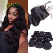 Peruvian Virgin Hair With Closure 4 Bundles With Closure Queen Hair Products With Closure Bundle Peruvian Body Wave With Closure
