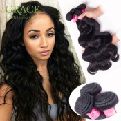 Wholesale Grace Hair Products Peruvian Body Wave 4pcs Lot Unprocessed Peruvian Virgin Hair Weave Natural Black Peruvian Hair