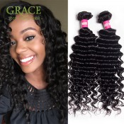 Grace Hair Products Malaysian Deep Wave Hair 3PCS/Lot Malaysian Virgin Curly Hair Bundles Unprocessed Malaysian Curly Weave