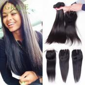 Queen Weave Beauty Ltd Brazilian Straight Hair With Closure 4PCS Lot Brazilian Hair Bundles With Lace Closure Brazilian Straight