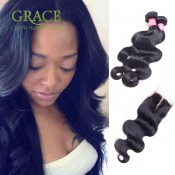 Peruvian Virgin Hair Body Wave With Closure Peruvian Human Hair With Closure 7A Peruvian Body Wave 3 Bundles With Closure