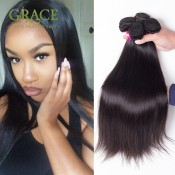 Queen Hair Products Peruvian Virgin Hair Straight 100% Human Hair Weave Extensions 7A Peruvian Straight Virgin Hair 4pcs lot