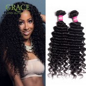 Peruvian Deep Wave Bundles 6A Grade Peruvian Curly Hair Weaving 3pcs Lot Unprocessed Peruvian Virgin Curly Hair Full End