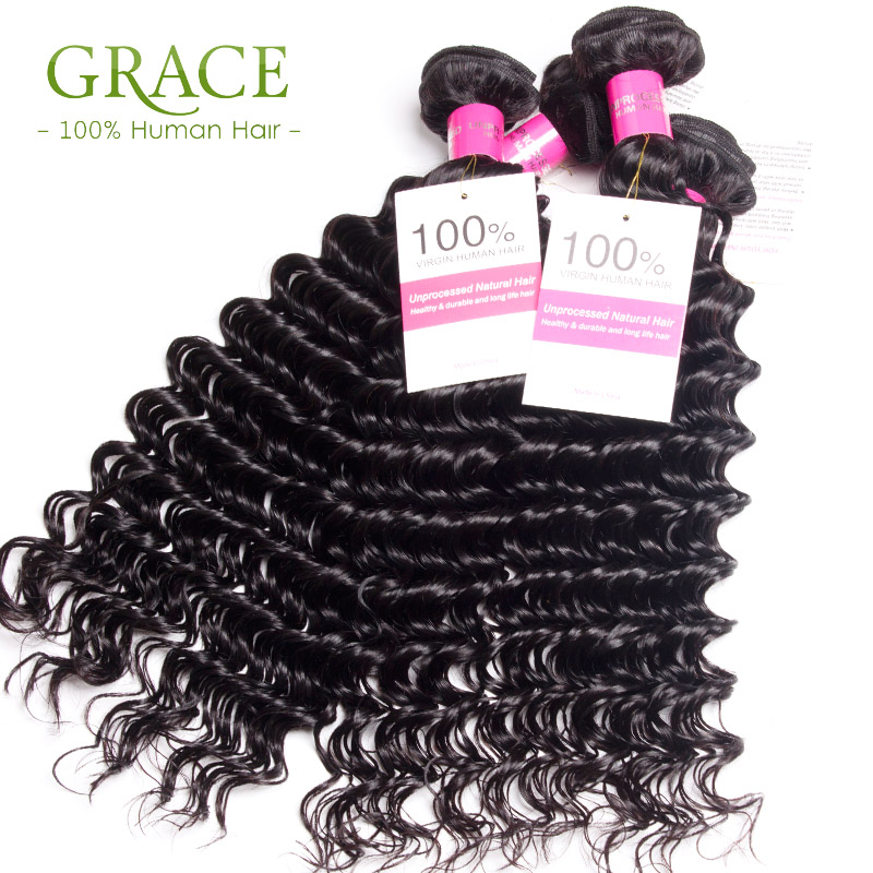 Indian Hair Deep Wave Bundles Unprocessed Virgin Indian Hair 4Pcs Lot Curly Weave Indian Curly Virgin Hair Grace Hair Products