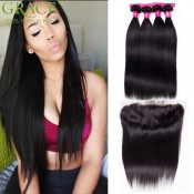 3 Bundles With Frontal Closure Peruvian Straight Hair Weaves With Frontal Closure Ear To Ear Lace Frontal Closure With Bundles