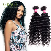 Cheveux indiens vague profonde Bundles Non Transformé cheveux indiens de Vierge 4Pcs Lot Curly Weave Indian Curly Virgin Hair de Grace Hair Products