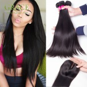 Peruvian Virgin Hair With Closure 3 or 4 Bundles Human Hair Weave With Closure Unprocessed Peruvian Straight Hair With Closure