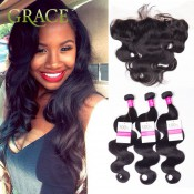 Peruvian Full Lace Frontal Closure With Bundles Body Wave Lace Frontal With Bundles HJ Weave Beauty 130% Swiss Lace Human Hair