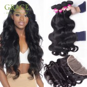 Frontal And Bundles Ear To Ear Lace Frontal Closure With Bundles West Kiss Virgin Hair 8A Grade Hair Bundles With Lace Frontals