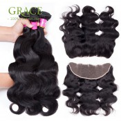 Full Frontal Lace Closure 13×4 With Bundles Brazilian Body Wave 3PCS Human Hair Weave Bundles With Full Frontal Lace Closure