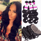 Frontal With Bundles Ear to Ear Lace Frontal Closure With Bundles 7A Grade Brazilian Virgin Hair With Frontal Closure Bundle
