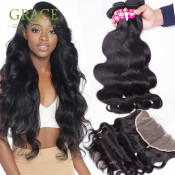 Ear to Ear Lace Frontal Closure With Bundles 7A Lace Frontals With Baby Hair Peruvian Virgin Hair With Frontal Closure Bundles