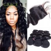 Brasilianisches Jungfrau-Haar Schließung brasilianischen Bündel mit Verschluss 5pcs Lot-Körper-Wellen-Haar-7A Jungfrau-brasilianisches Haar der Schließung