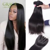 7A Grade Malaysian Straight Hair With Closure 4 Bundles With Closure Human Hair Bundles With Lace Closures Natural Black