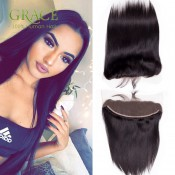 Ear To Ear Virgin Peruvian Straight Full Lace Frontal Closure 1B Natural Color 13*4 Lace Frontal Closure With Bleached Knots