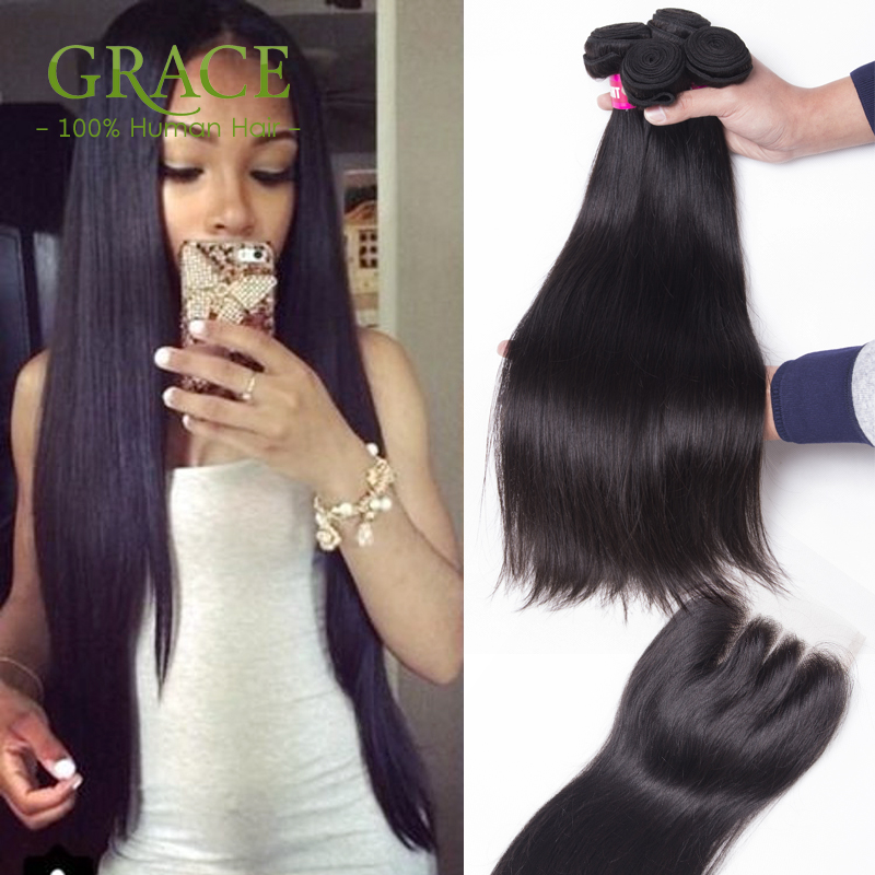 Peruvian Virgin Hair With Closure 5 Pcs/Lot Peruvian Straight Virgin Hair 7a Grade Virgin Unprocessed Human Hair