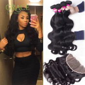 Lace Frontal Weave Ear to Ear Lace Frontal Closure With Bundles 8A Unprocessed Peruvian Virgin Hair With Lace Frontal Closure