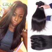 Straight Weave Ali Queen Hair Products Malaysain Virgin Hair With Closure 4Pcs Lot Malaysian Hair Bundles With Lace Closures