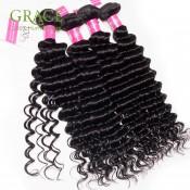 格雷斯發製品秘魯深波4Bundles未處理秘魯捲髮批發秘魯處女頭髮自然黑色