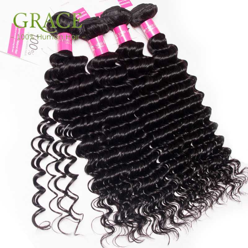 Grace Hair Products Peruvian Deep Wave 4Bundles Unprocessed Peruvian Curl Hair Wholesale Peruvian Virgin Hair Natural Black