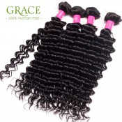 Grace Hair Products Brazilian Curly Virgin Hair 3pcs Lot Natural Black Brazilian Deep Wave Brazilian Curly Weave Human Hair