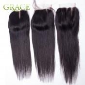 7A Peruvian Swiss Lace Closure Straight 4*4 Bleached Knots Peruvian Lace Closure Straight Free/Middle/3Part Human Hair Closure
