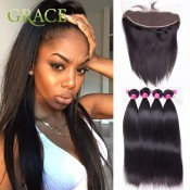 Full Frontal Lace Closure 13×4 With Bundles Sexy Formula Hair Malaysian Straight Virgin Hair Human Hair Bundles With Closure
