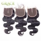 7A Grade Brazilian Body Wave Lace Closure Swiss Lace Closure Bleached Knots 4*4 Brazilian Lace Closure Human Hair Closure Piece