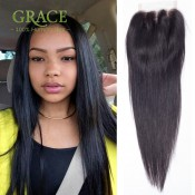 Brazilian Lace Closure Straight Swiss Lace Closure With Baby Hair Straight Human Lace Closure Bleached Knots Free/Middle/3Part