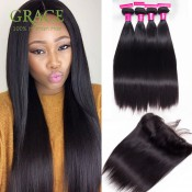 Bundles With Frontal Ear To Ear Lace Frontal Closure With Bundles Lace Frontal Weave Peruvian Virgin Hair With Frontal Closure